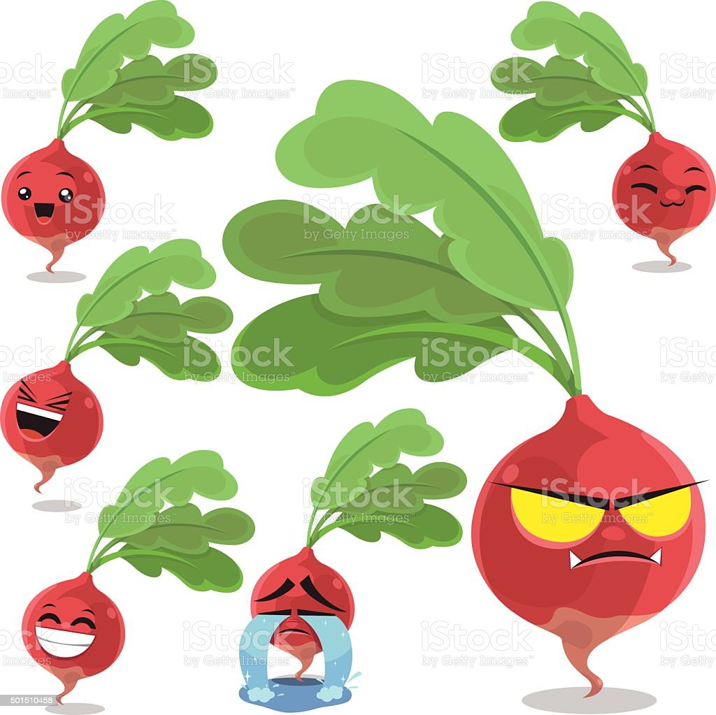 Radish Cartoon Set B vector art illustration