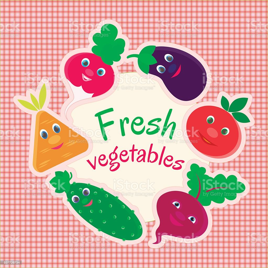 Radishes, beets, carrots, eggplant, cucumber, tomato vector art illustration