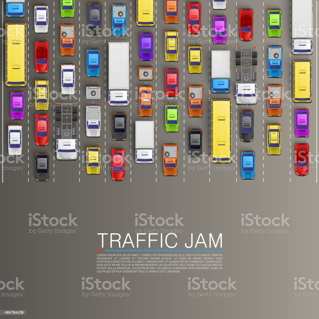 raffic jam on the road vector art illustration