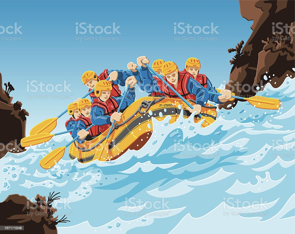 Rafting Action vector art illustration