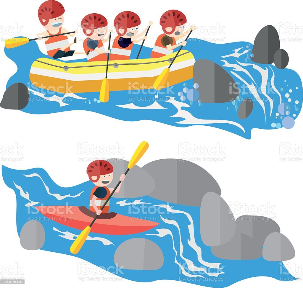 Rafting and kayaking vector art illustration