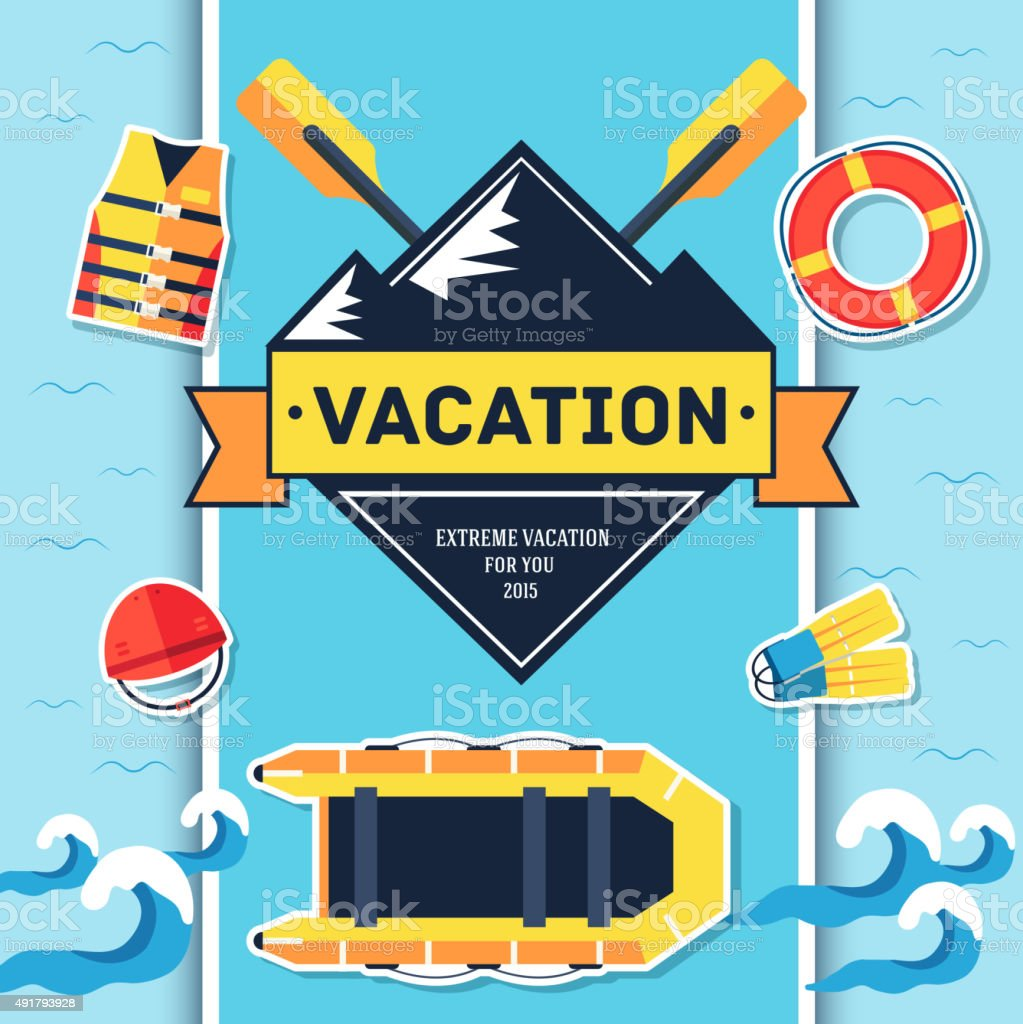 Rafting elements on blue background poster in sticker style design vector art illustration