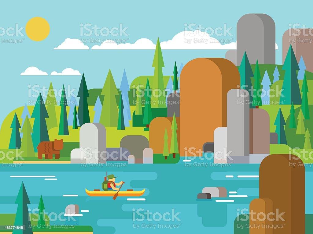 Rafting on river flat style vector art illustration