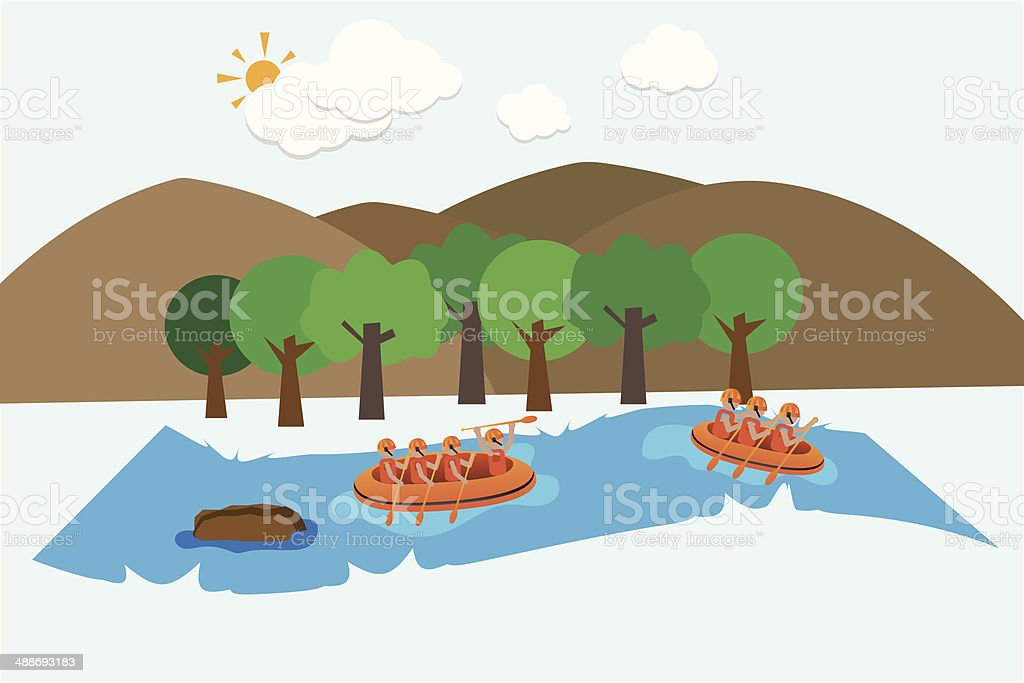 rafting on river vector background vector art illustration