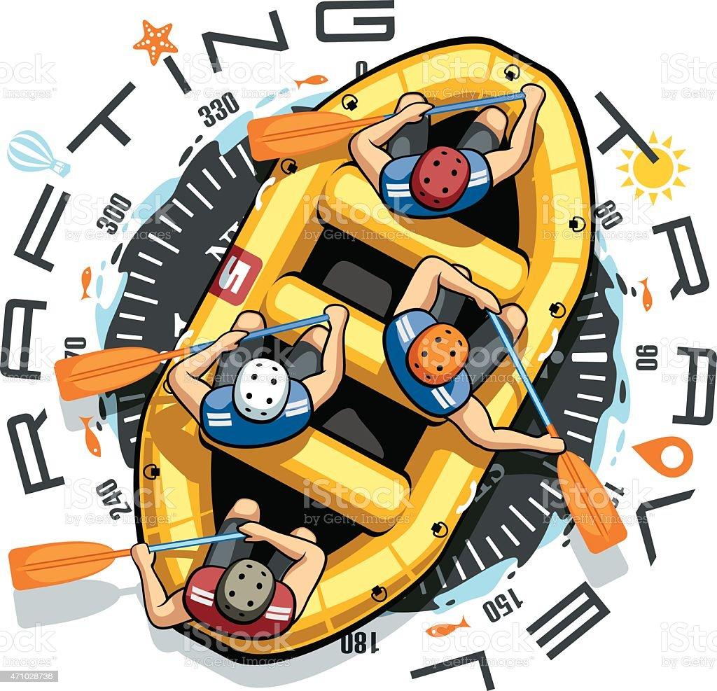 Rafting Travel Boat vector art illustration