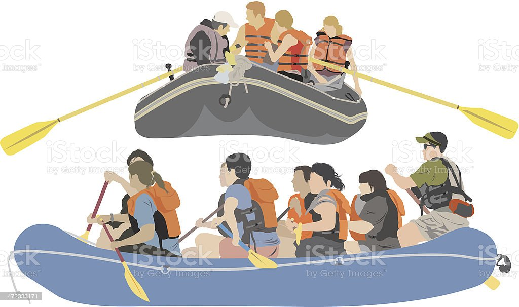 Rafting trip royalty-free stock vector art