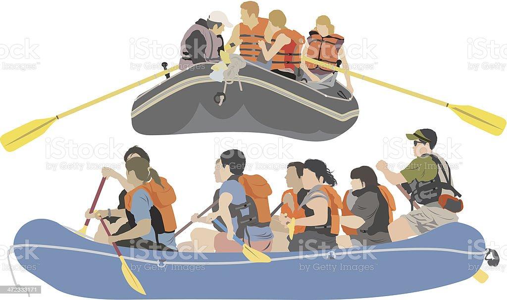 Rafting trip vector art illustration