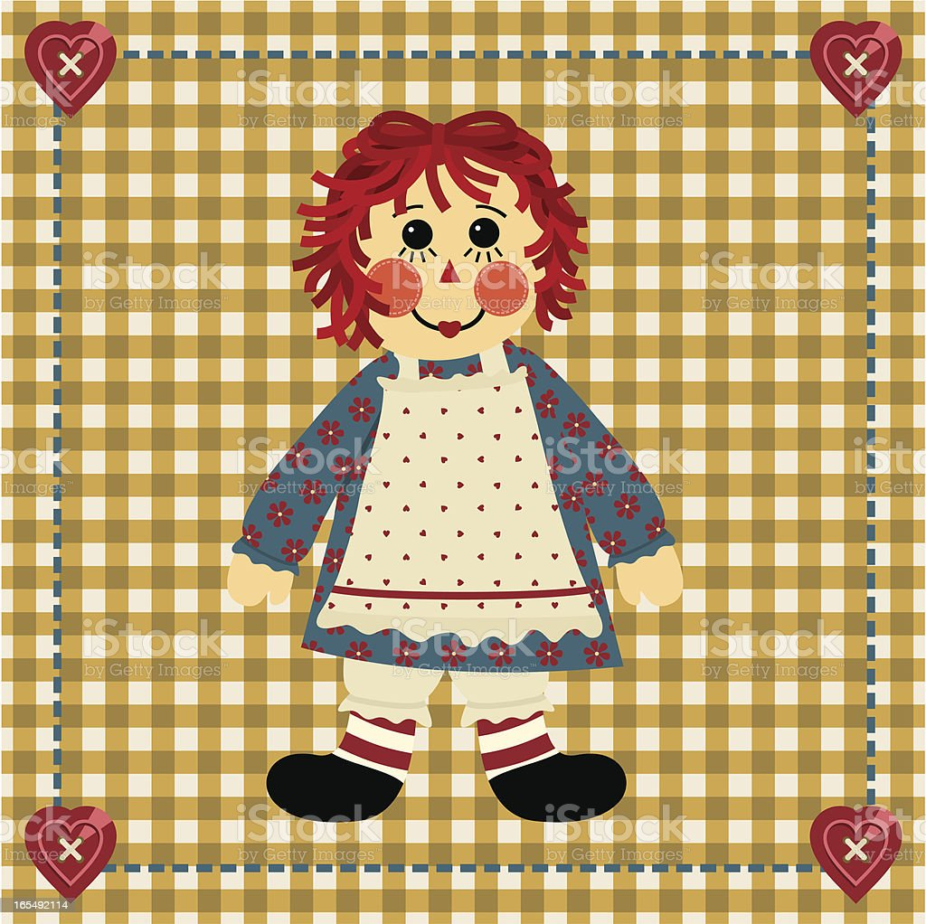 Raggedy Ann vector art illustration