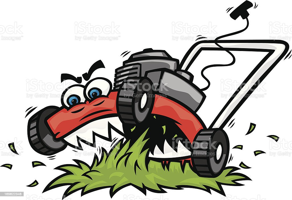 ragin lawnmower vector art illustration