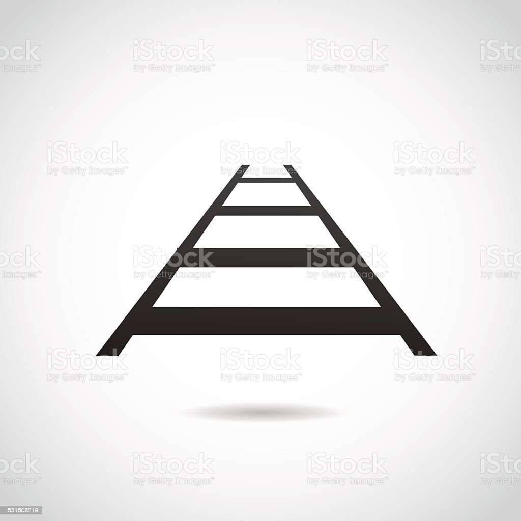 Rail icon isolated on white background. vector art illustration