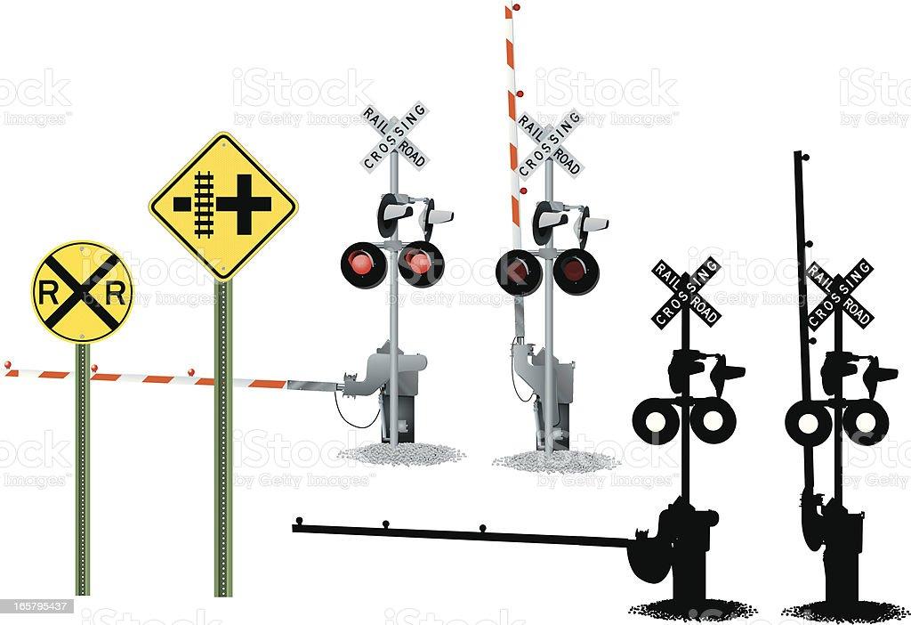 Railroad Crossing and Traffic Signs vector art illustration