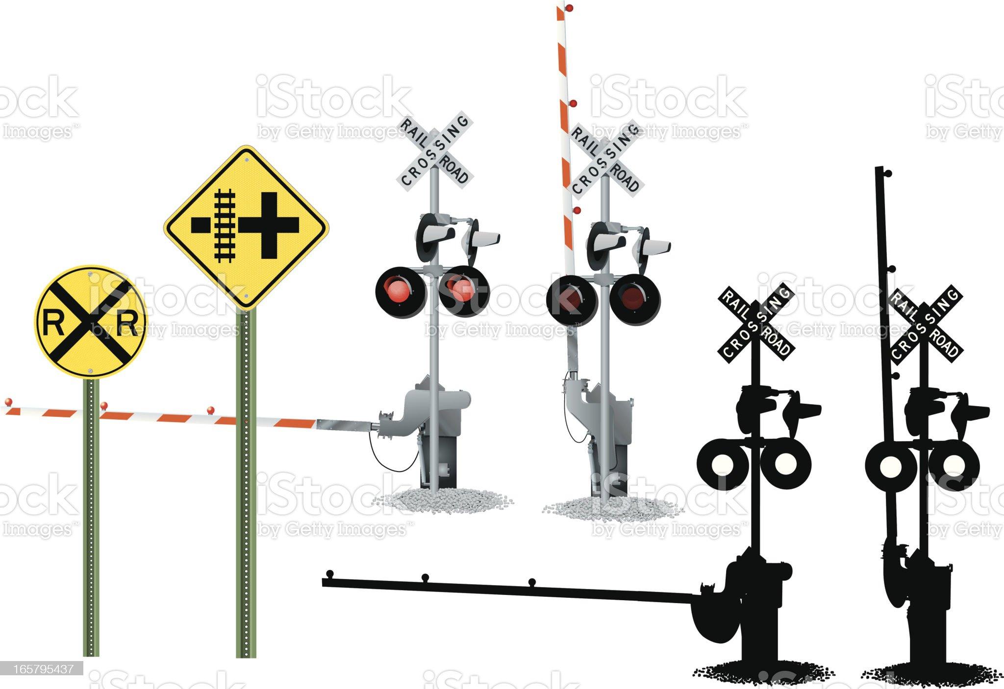 Railroad Crossing and Traffic Signs royalty-free stock vector art