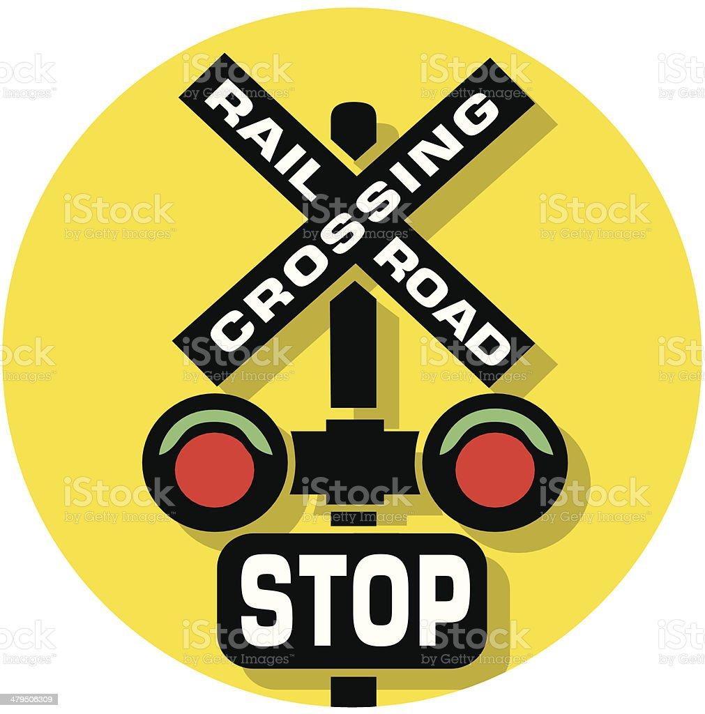 railroad crossing icon vector art illustration