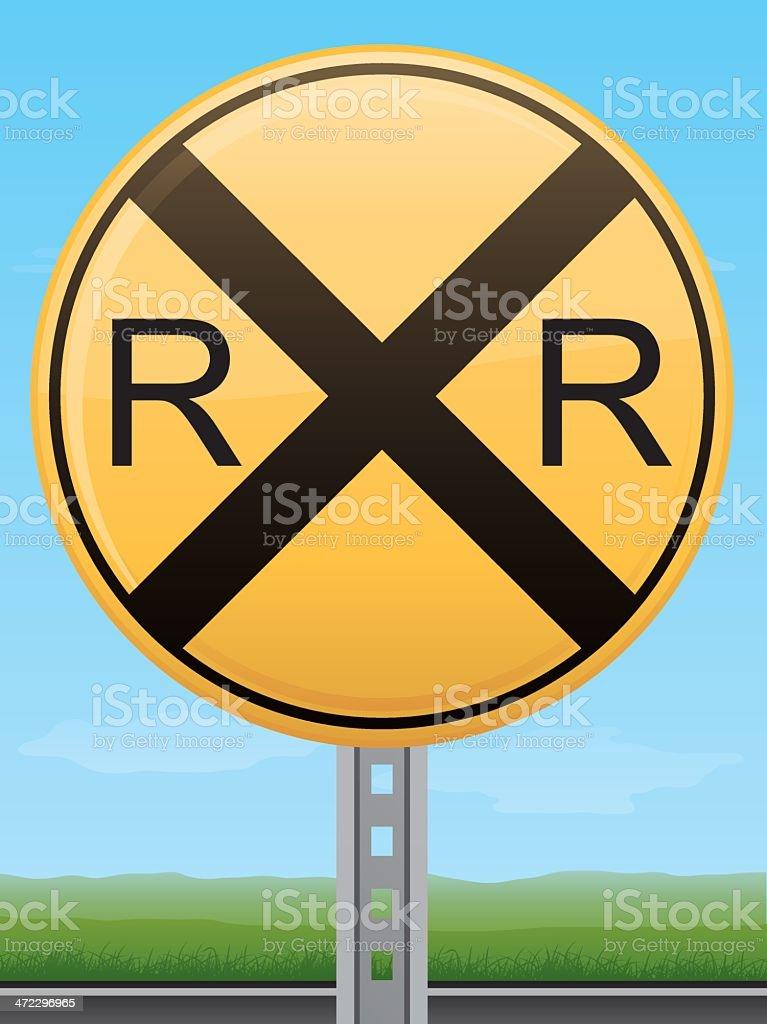 Railroad Crossing Road Sign vector art illustration