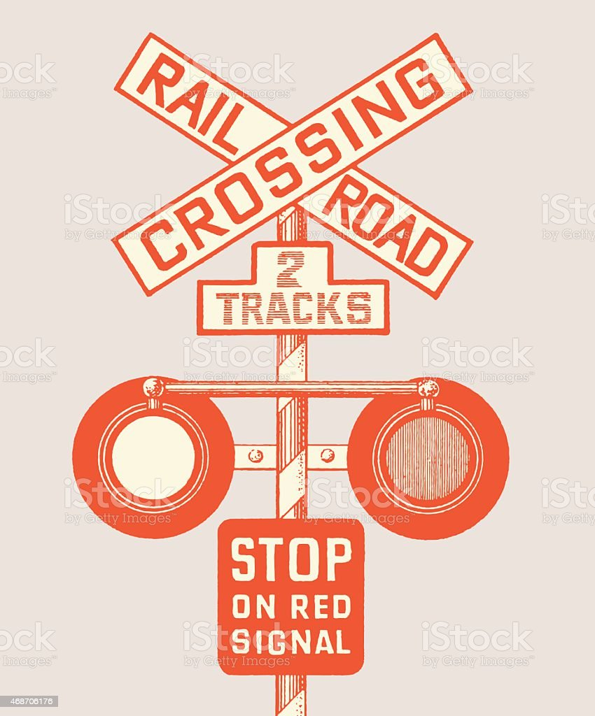 Railroad Crossing vector art illustration