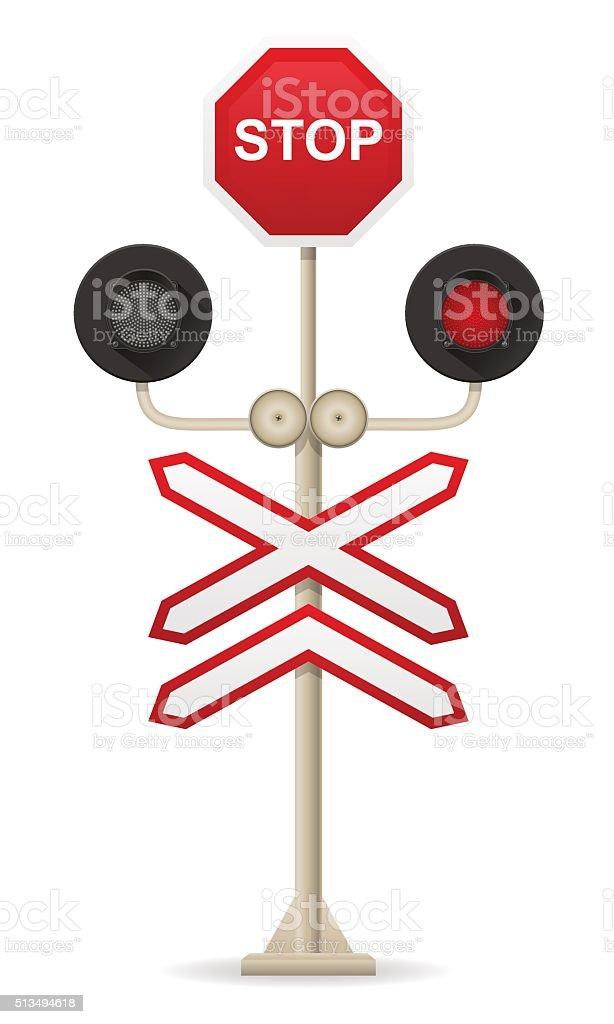 railroad crossing vector illustration vector art illustration