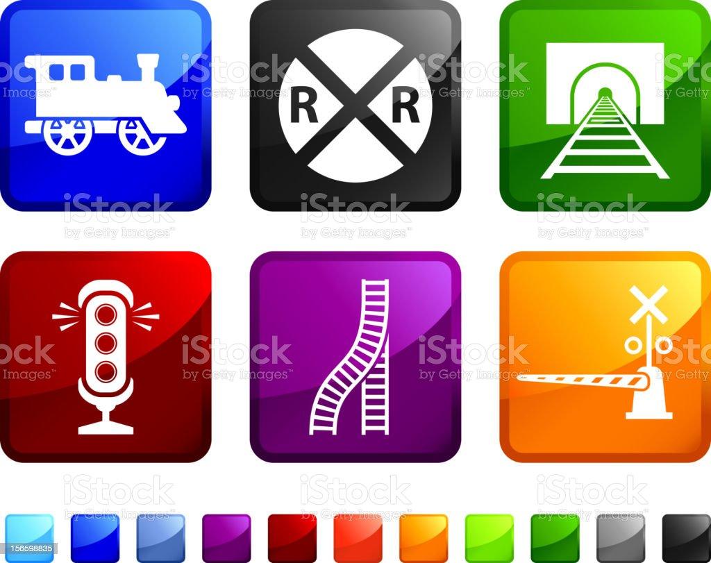 Railroad Crossing Warning royalty free vector icon set stickers vector art illustration