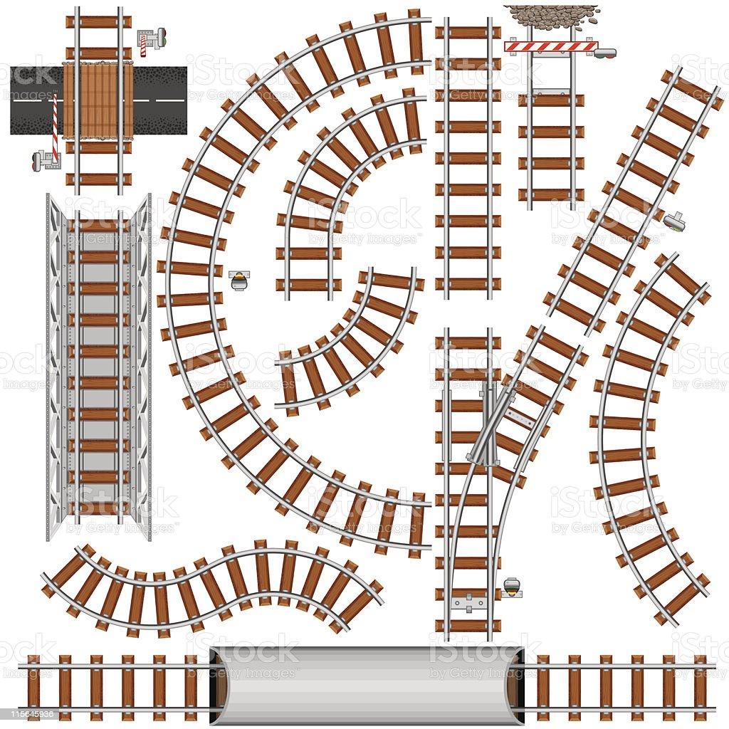 Railroad Elements vector art illustration