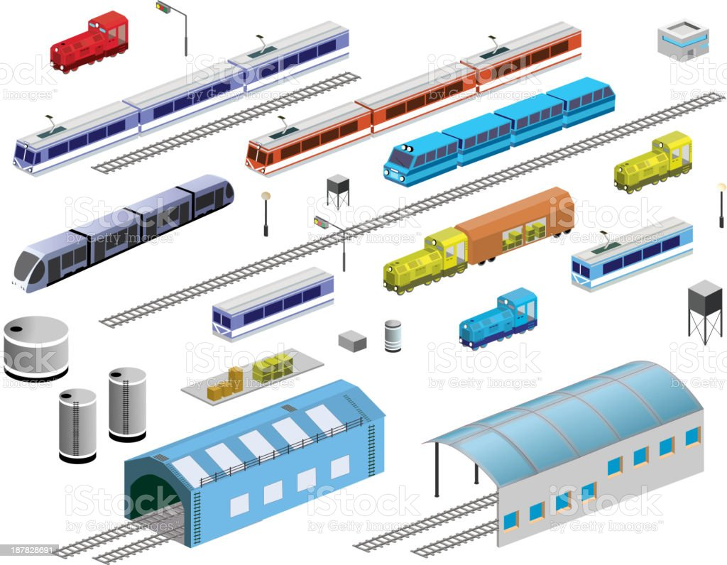 Railroad equipment vector art illustration