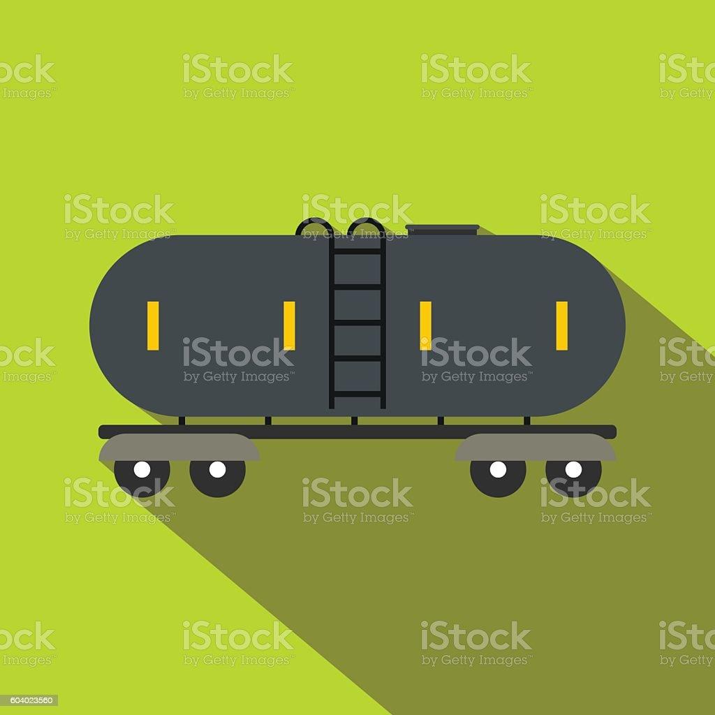 Railroad gasoline and oil tank flat icon vector art illustration