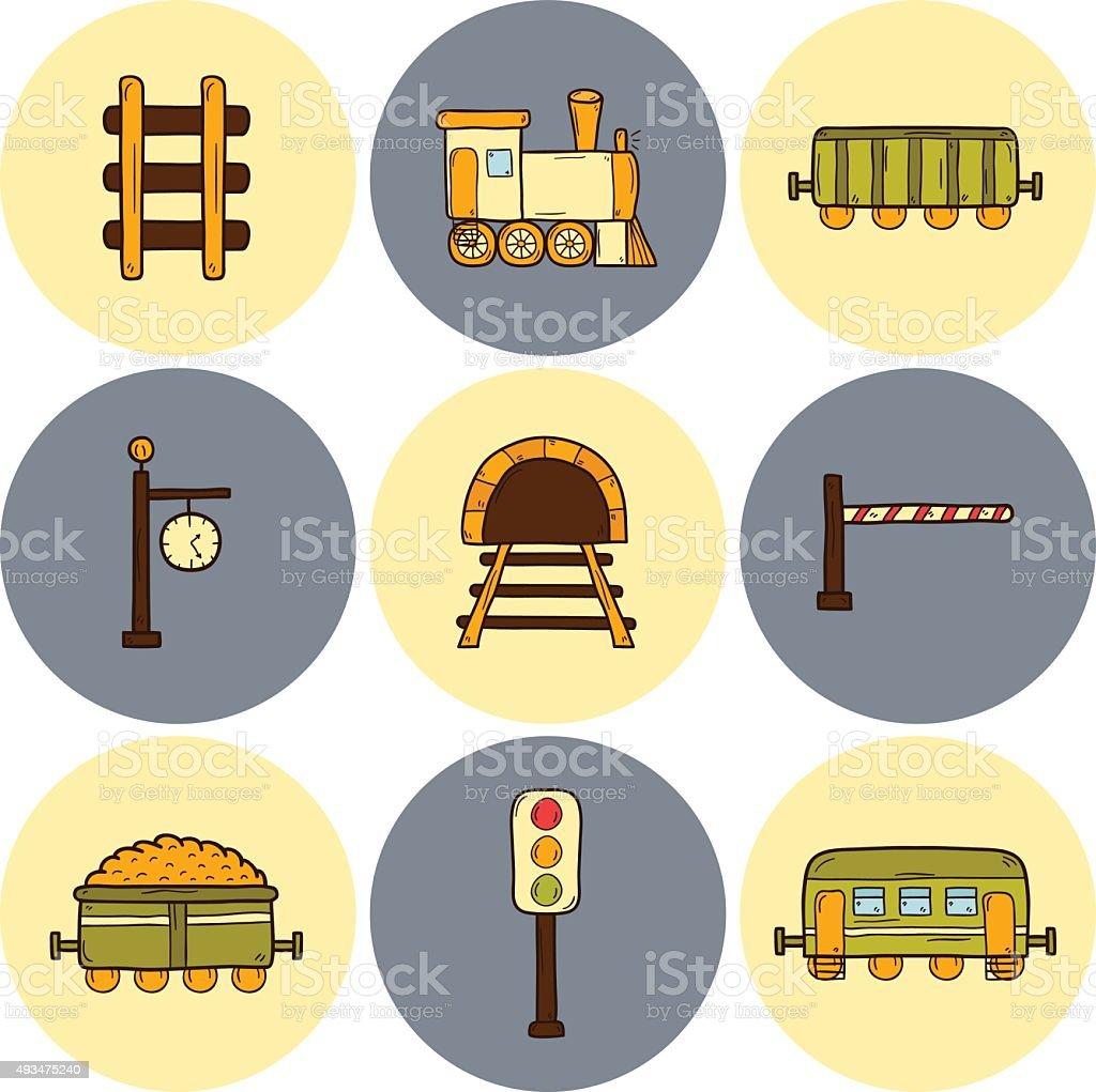 Railroad hand drawn icons vector art illustration