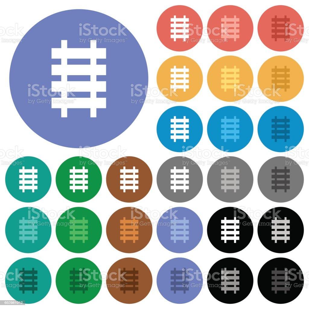 Railroad round flat multi colored icons vector art illustration