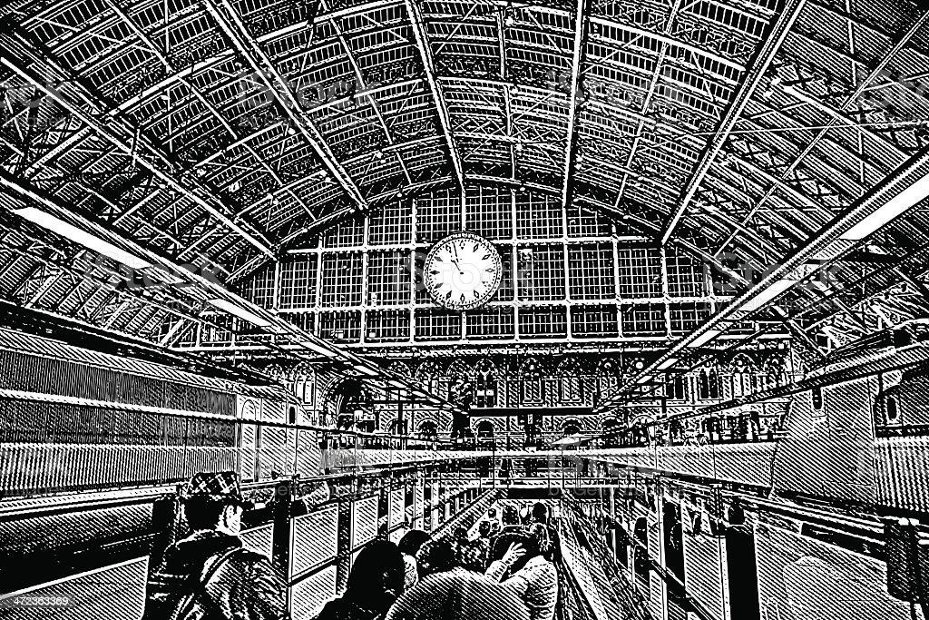 Railroad Station Platform vector art illustration