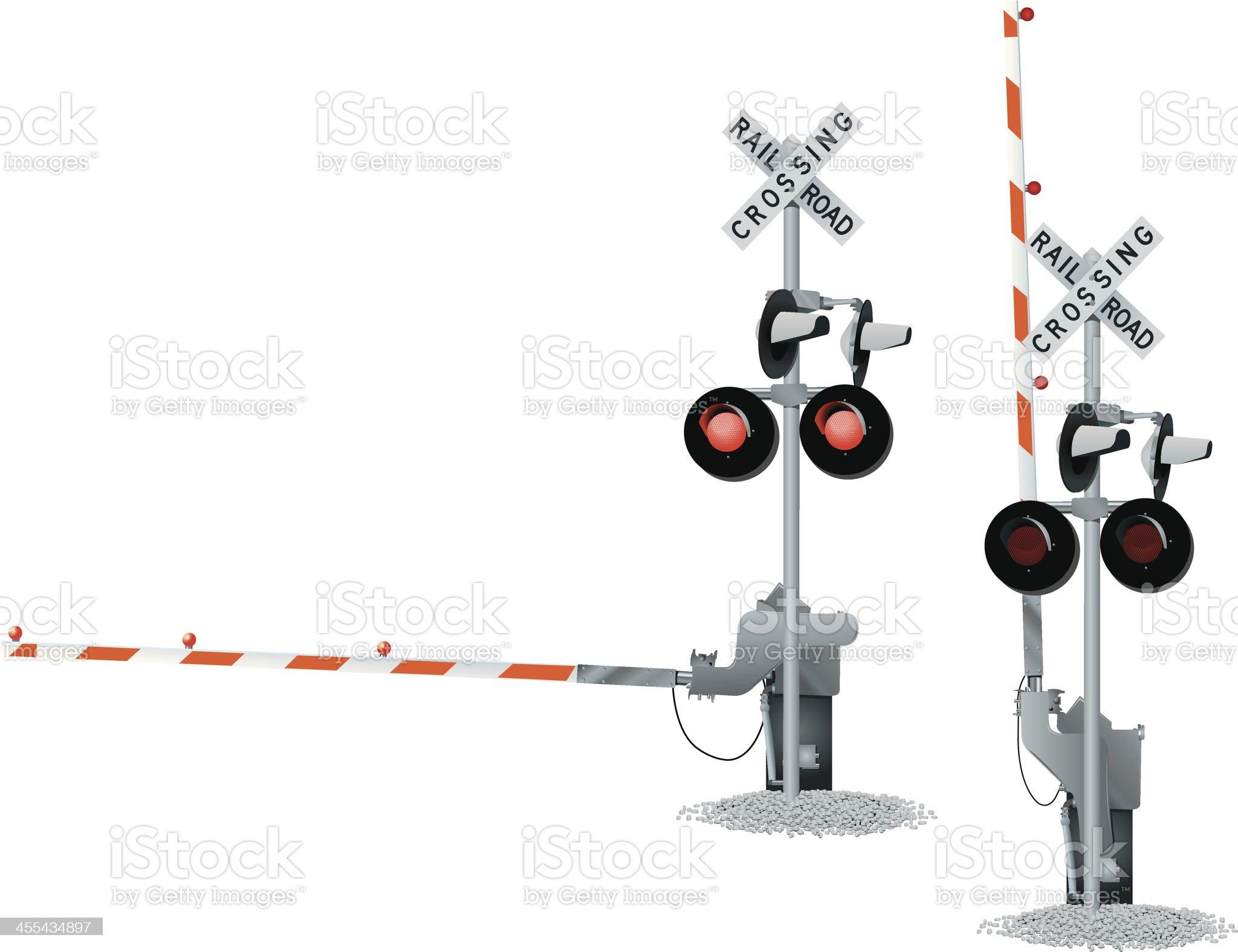 Railroad Track Crossing royalty-free stock vector art