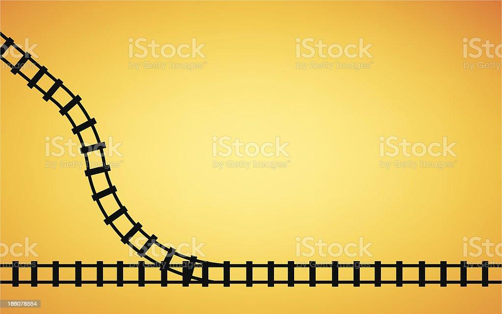 Railroad Track Junction Background vector art illustration