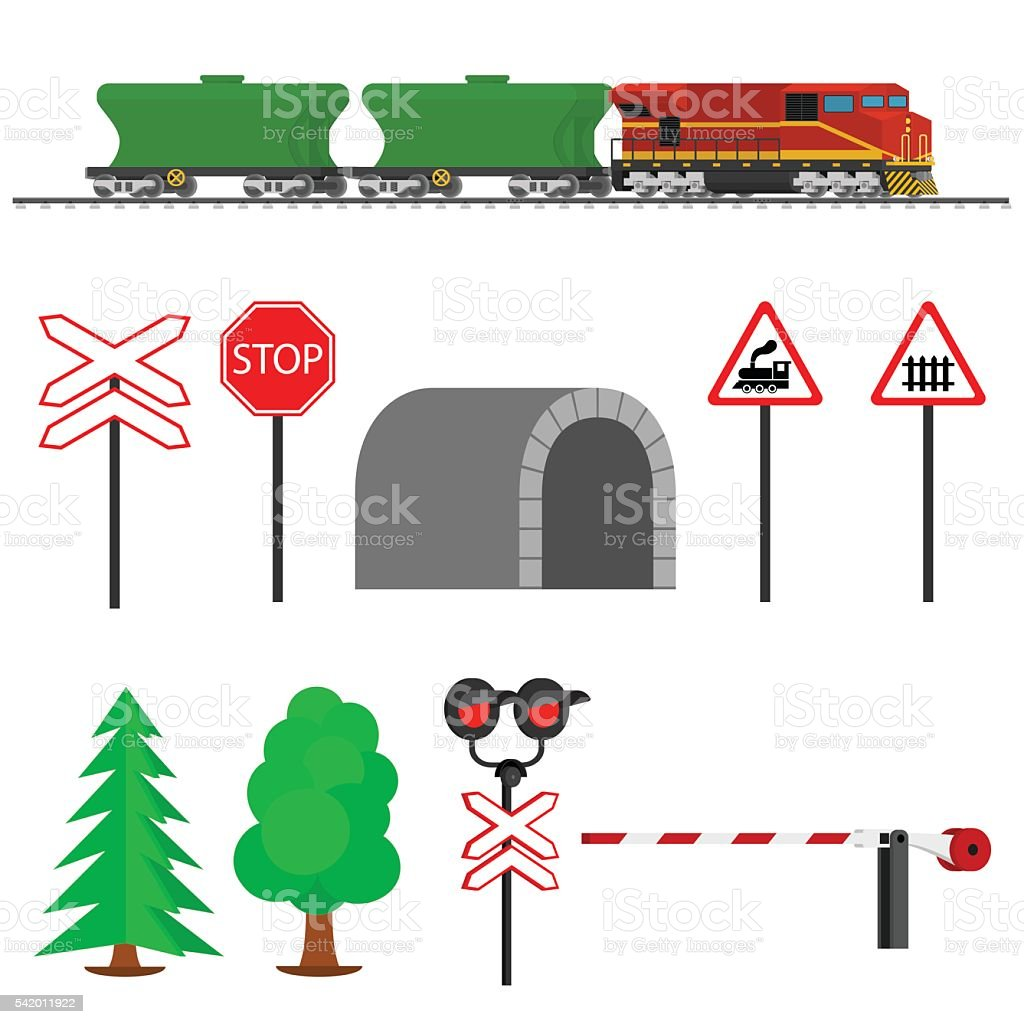 Railroad traffic way and train wagons for transportation of grain. vector art illustration
