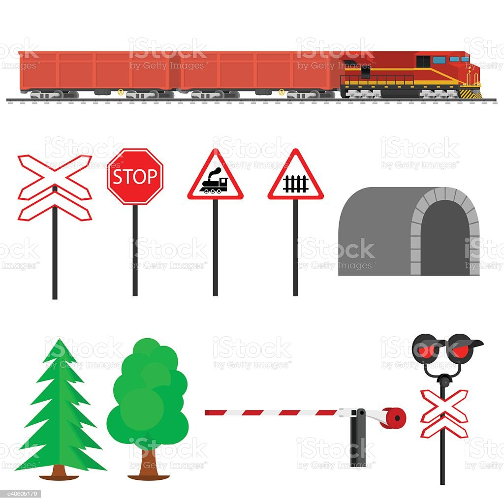 Railroad traffic way and train with cargo cars. vector art illustration