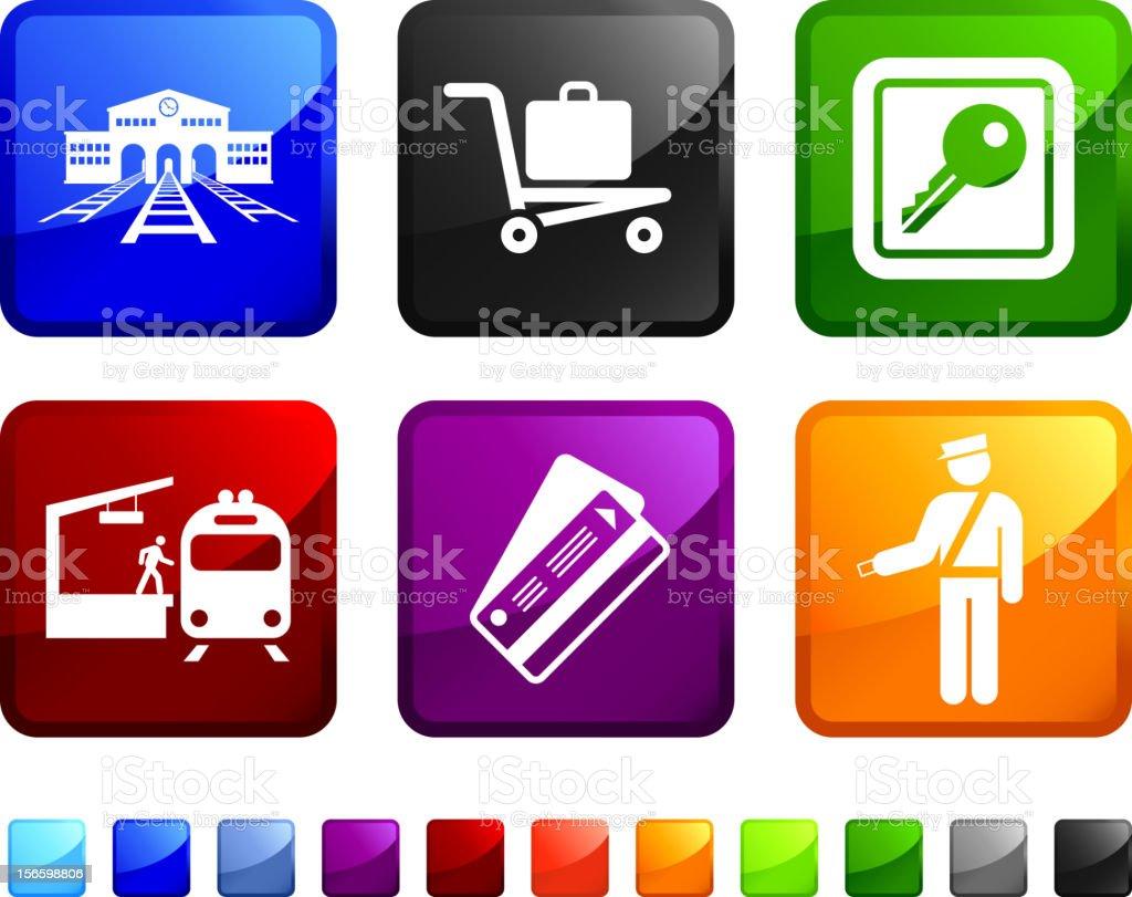 Railroad Transportation royalty free vector icon set stickers royalty-free stock vector art