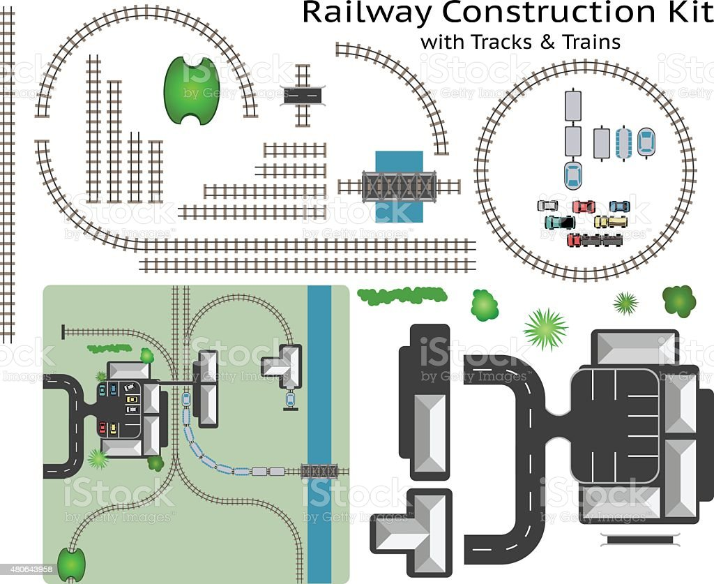 Railway and Station Building Construction Kit with Train vector art illustration