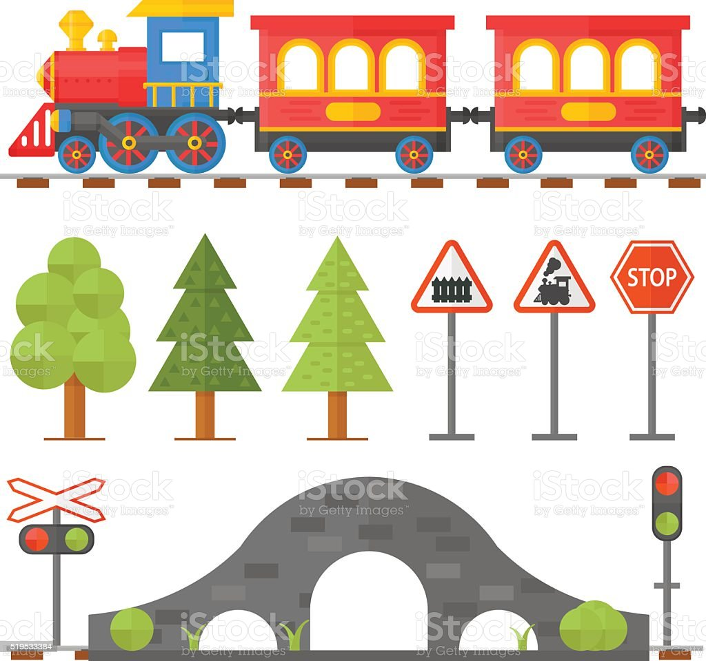 Railway design concept set with station steward railroad passenger toy vector art illustration