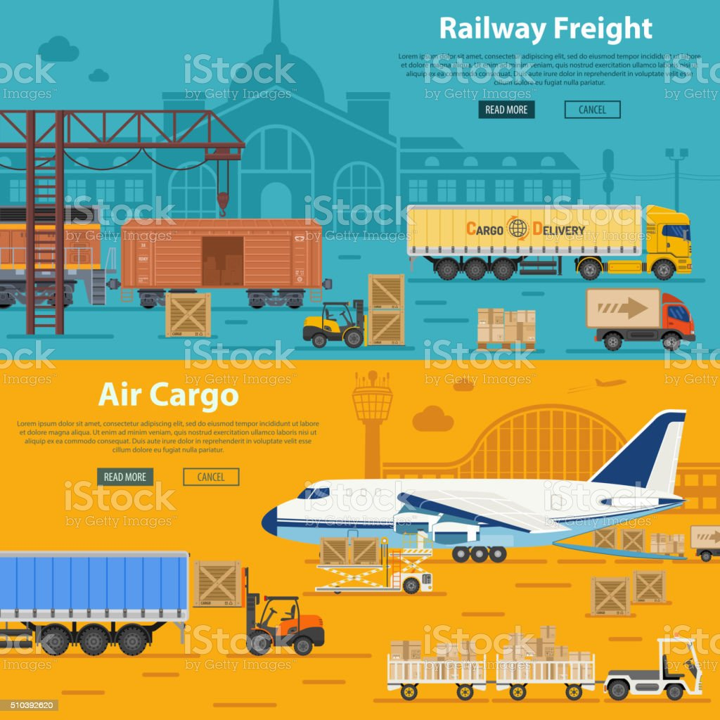 Railway Freight and Air Cargo vector art illustration