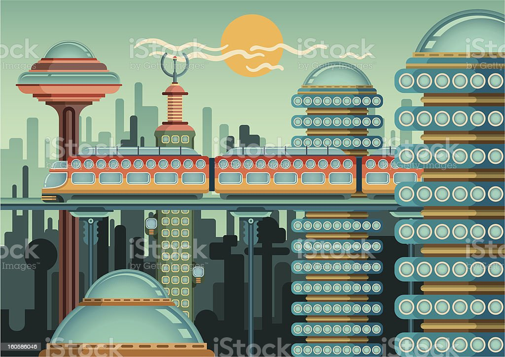 Railway in the city. royalty-free stock vector art