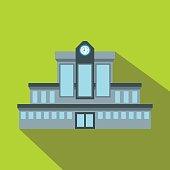 Railway station flat icon