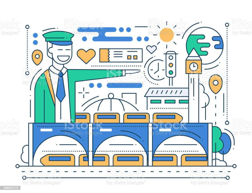 Railway Station - line design composition vector art illustration