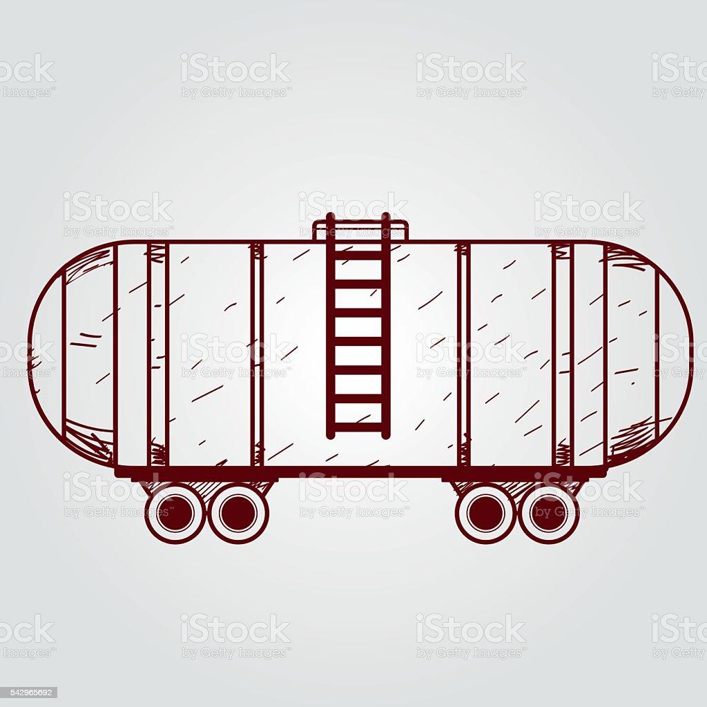 Railway tank. Outline drawing. vector art illustration