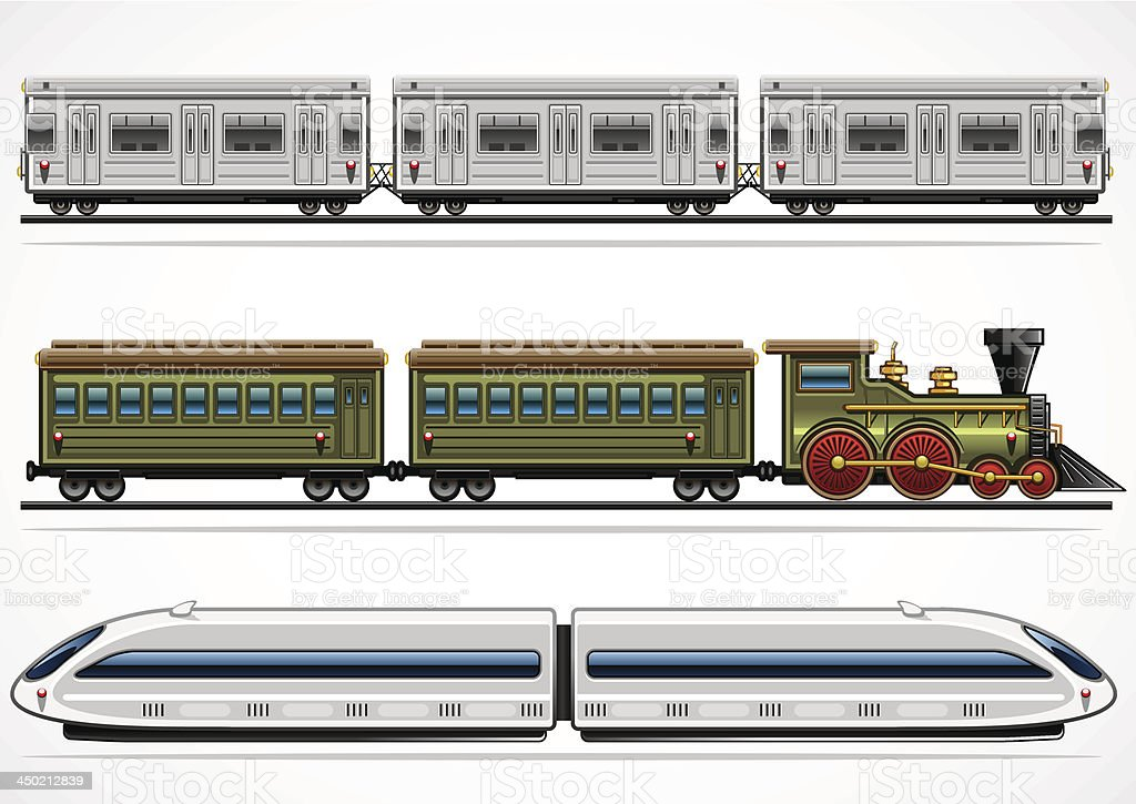 Railway transport collection vector art illustration
