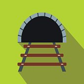 Railway tunnel flat icon
