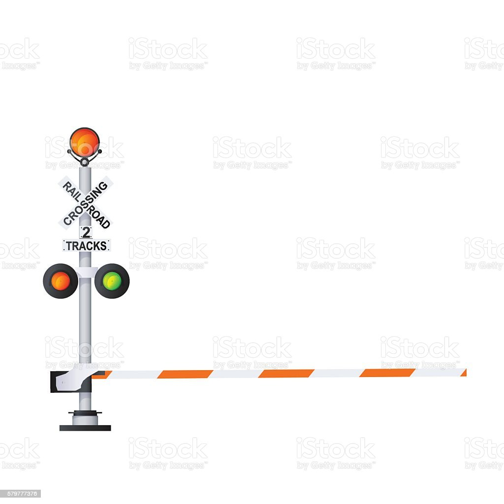 Railway Warning Sign vector art illustration