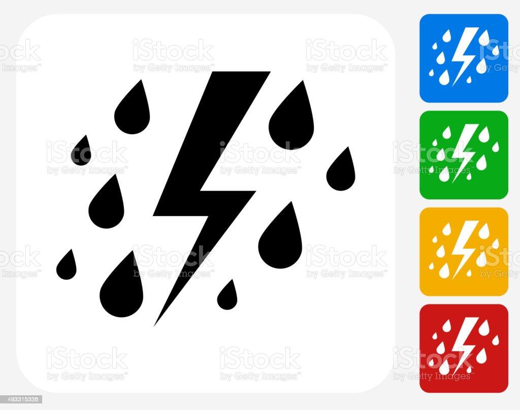 Rain and Thunder Icon Flat Graphic Design vector art illustration