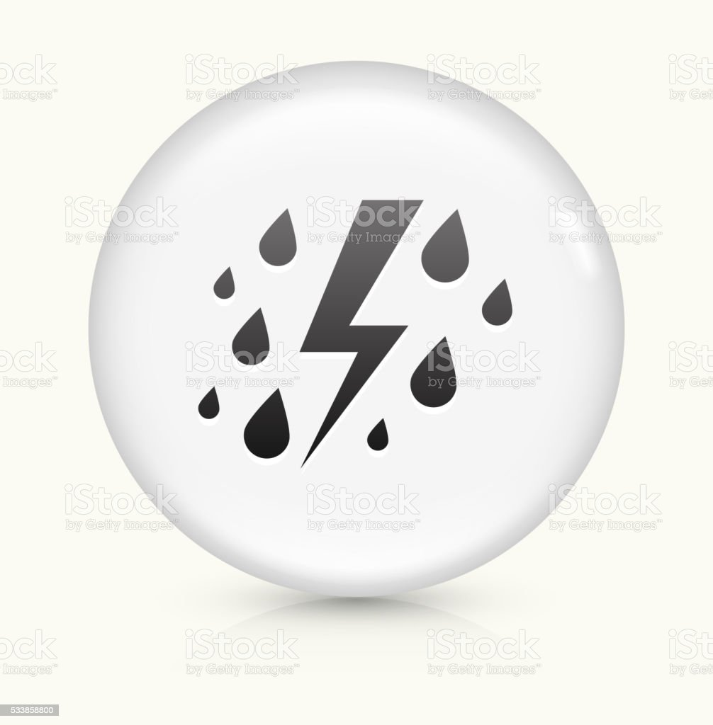 Rain and Thunder icon on white round vector button vector art illustration