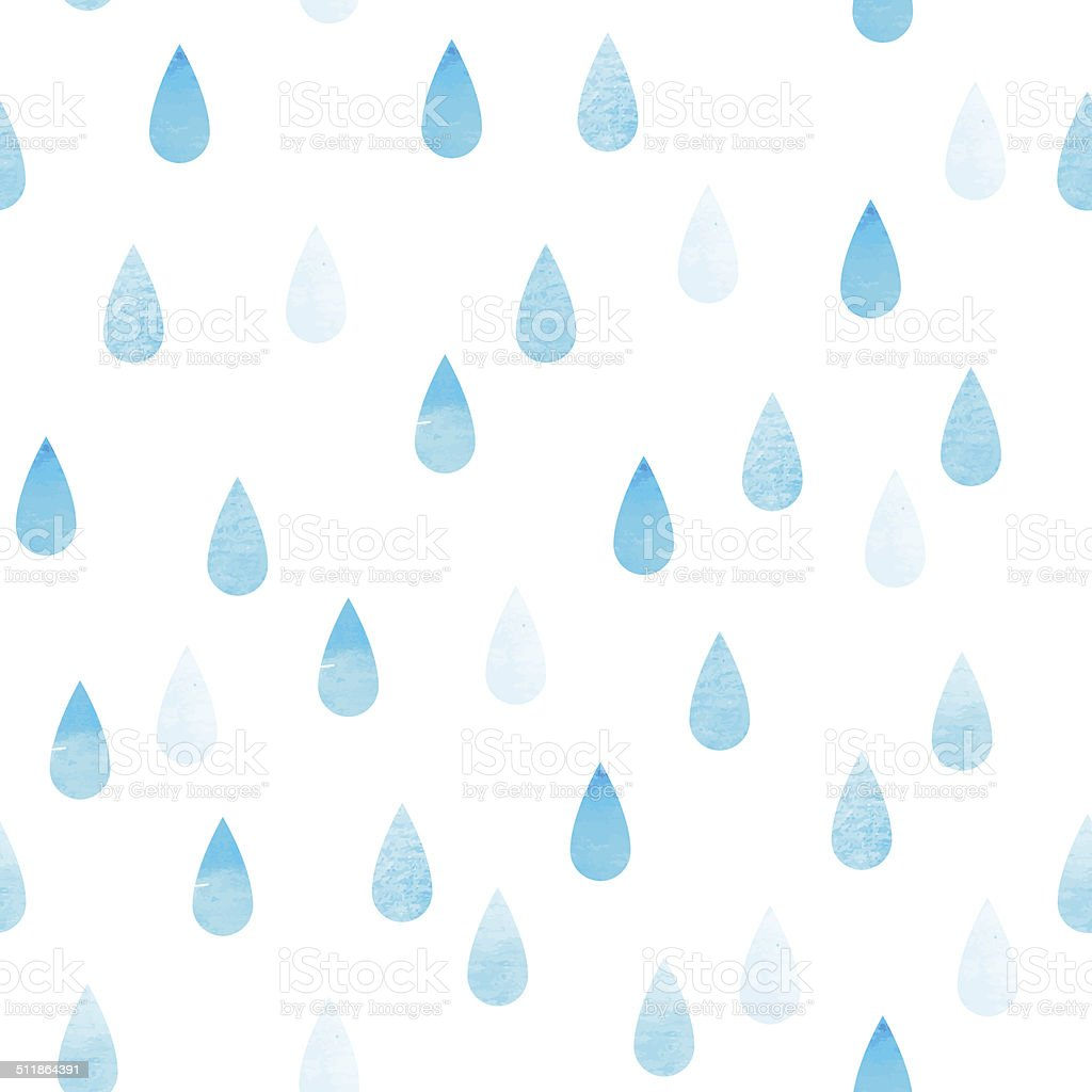 Rain blue seamless drops vector art illustration