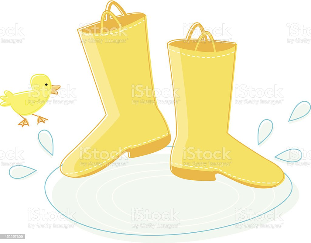 Rain Boots and Duckling royalty-free stock vector art