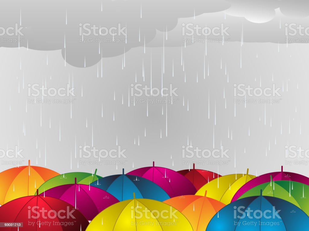 Rain falling onto colorful umbrellas vector art illustration
