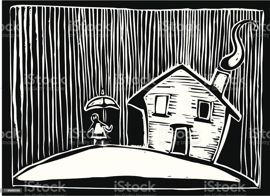 Rain house royalty-free stock vector art