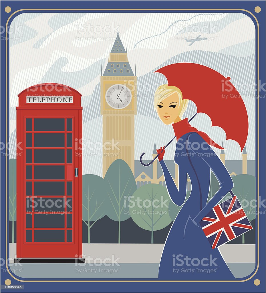 Rain in London royalty-free stock vector art