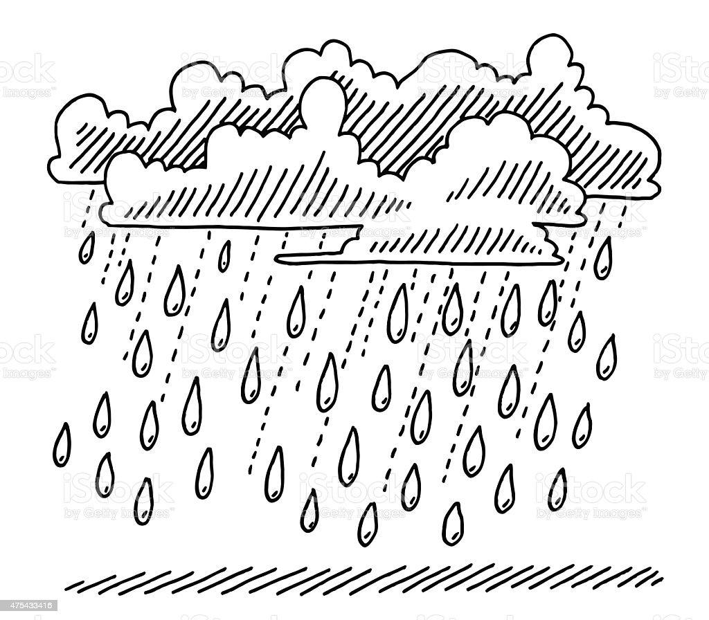 Rain Shower Clouds Drawing vector art illustration